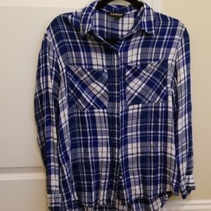 Express oversized blue flannel
